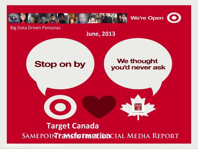 Big Data Driven Personas  June, 2013  Target Canada Samepoint Monthly Social Media Report Transformation © 2013 Samepoint ...