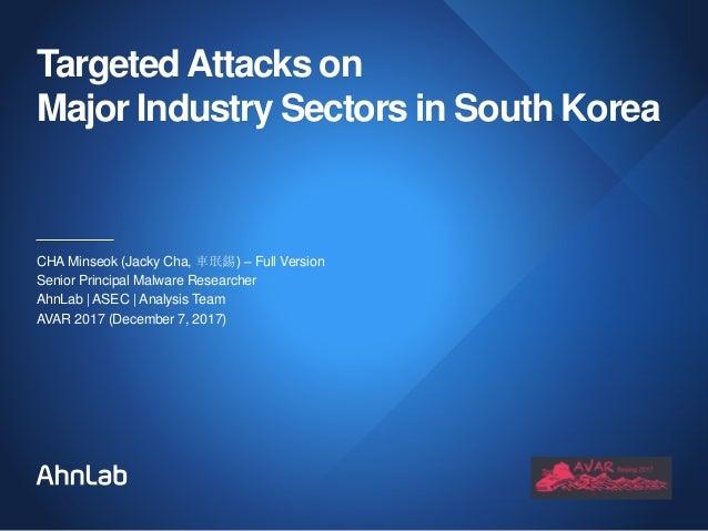 TargetedAttacks on Major Industry Sectors in South Korea CHA Minseok (Jacky Cha, 車珉錫) – Full Version Senior Principal Malw...