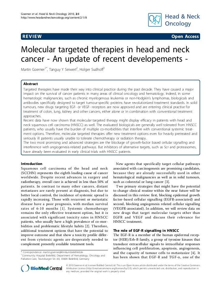 Goerner et al. Head & Neck Oncology 2010, 2:8http://www.headandneckoncology.org/content/2/1/8 REVIEW                      ...