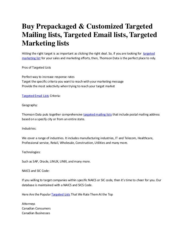 General Mailing List Guidelines