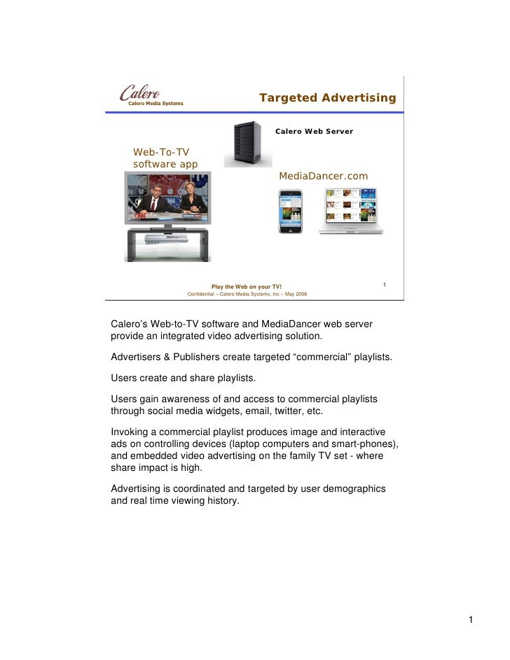 Calero Media Systems                                                         Targeted Advertising                         ...