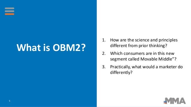 What is OBM2? 5 1. How are the science and principles different from prior thinking? 2. Which consumers are in this new se...