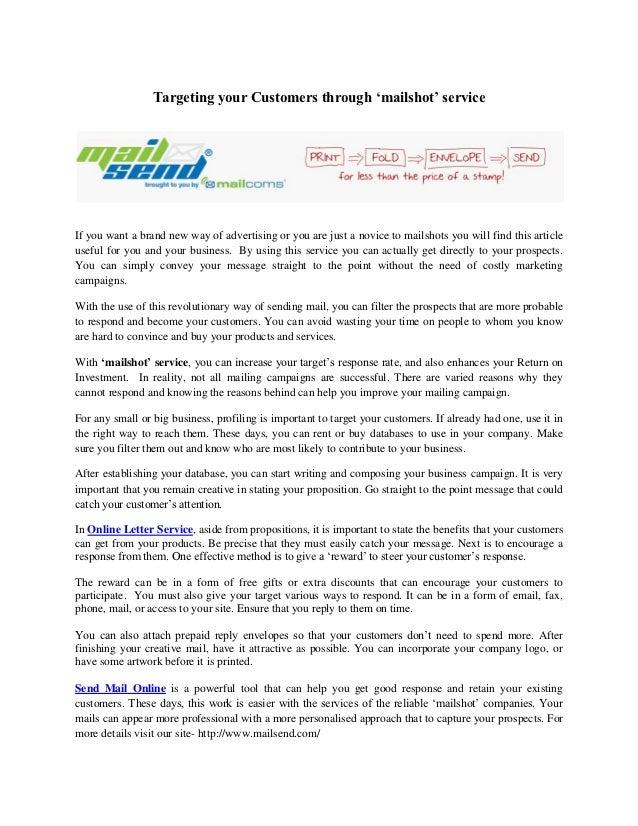 email marketing sample letter