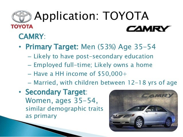 toyota camry hybrid target market Market segmentation toyota consumer buying decision process hilux a look at how toyota segments their target market in in malaysia are camry.