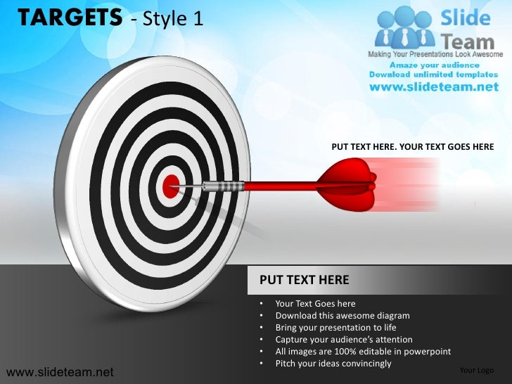 bullseye chart template - targets bullseye darts goals design 1 powerpoint ppt slides