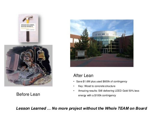 After Lean • Save $1.6M plus used $600k of contingency • Key: Wood to concrete structure • Amazing results: Still deliveri...