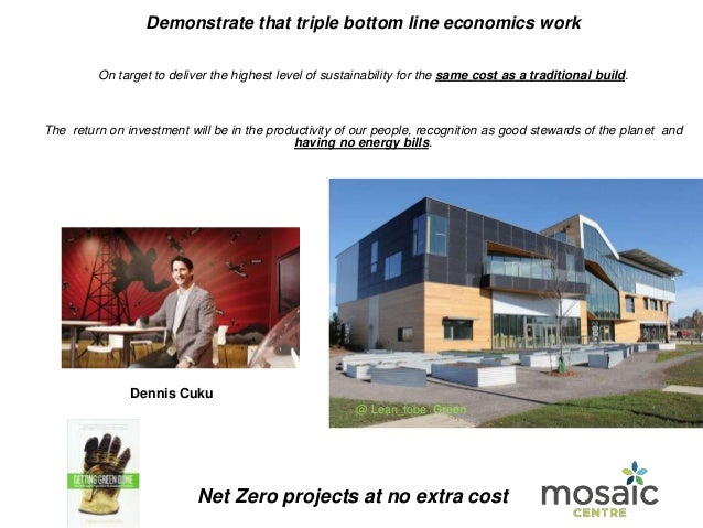 Demonstrate that triple bottom line economics work On target to deliver the highest level of sustainability for the same c...