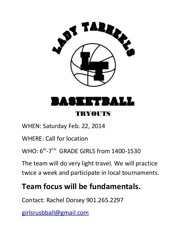 TRYOUTS WHEN: Saturday Feb. 22, 2014 WHERE: Call for location WHO: 6th-7TH GRADE GIRLS from 1400-1530 The team will do ver...