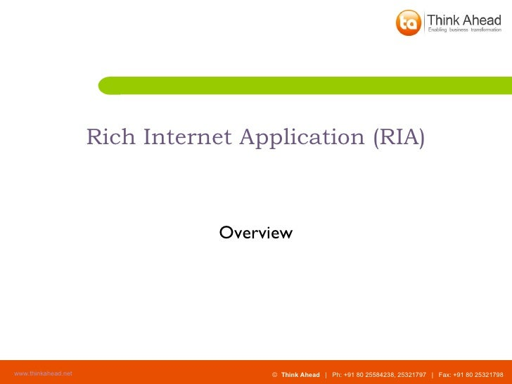 Rich Internet Application (RIA) Overview