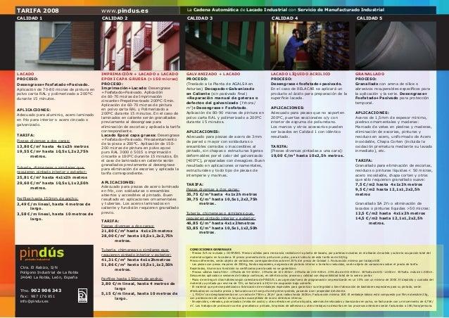 TARIFA 2008                                www.pindus.es                                  La Cadena Automática de Lacado I...