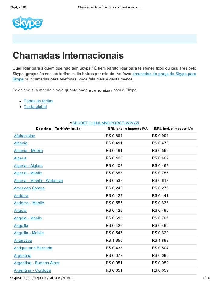 26/4/2010                                   Chamadas Internacionais - Tarifários - …      Chamadas Internacionais  Quer li...