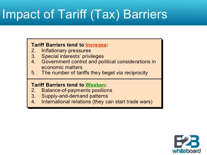 main types of non tariff barriers Non-tariff barriers to trade non-tariff barriers (ntbs) refer to restrictions that result from prohibitions, conditions, or specific market requirements that make importation or exportation of products difficult and/or costly.
