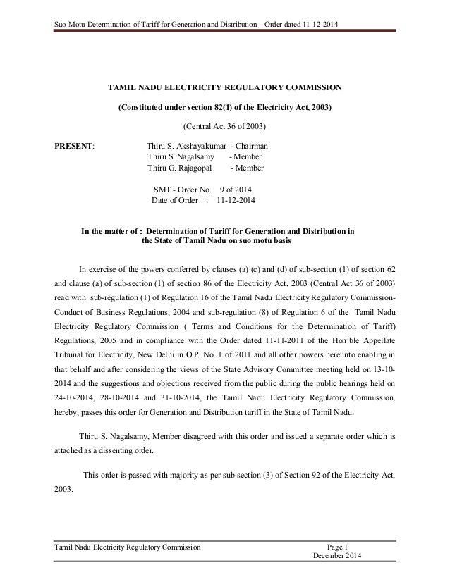 Tariff order 9 of 2014 tangedco spiritdancerdesigns Images