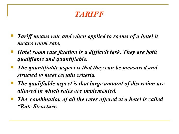 Room Rate Structure