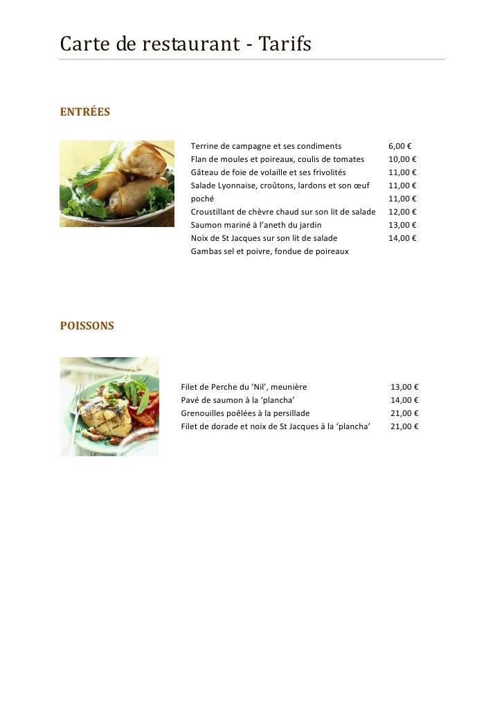 Tarif restaurant Slide 2
