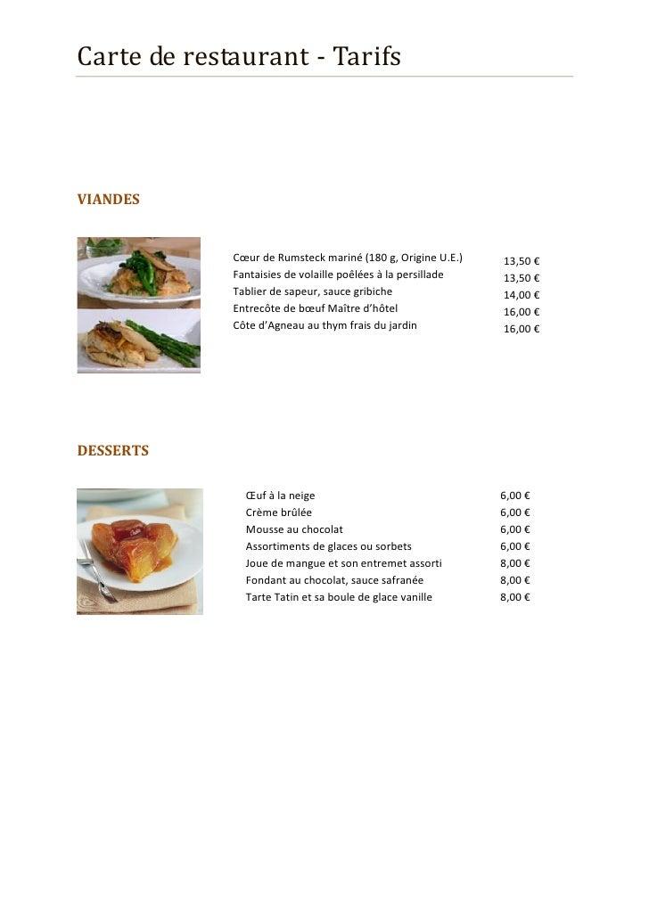 Tarif restaurant Slide 3