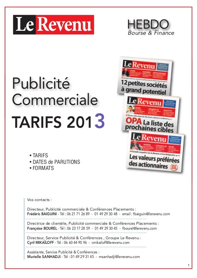 HEBDO                                                               Bourse & FinancePublicitéCommercialeTARIFS 2013  • TAR...