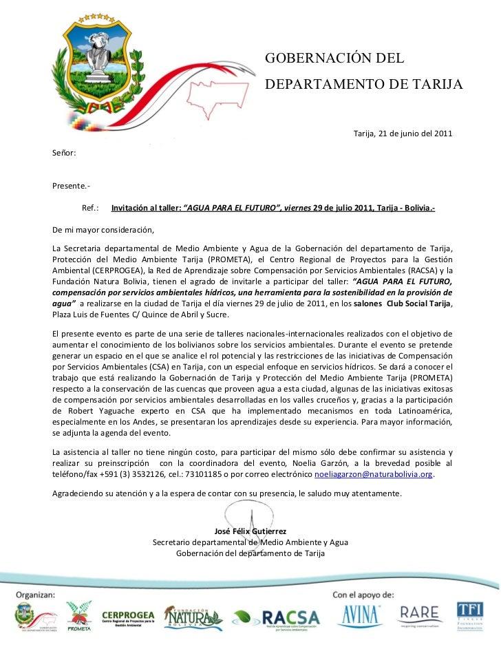 GOBERNACIÓN DEL                                                           DEPARTAMENTO DE TARIJA                          ...