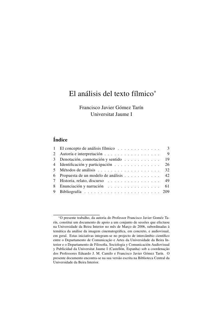 El análisis del texto fílmico∗                   Francisco Javier Gómez Tarín                        Universitat Jaume IÍn...