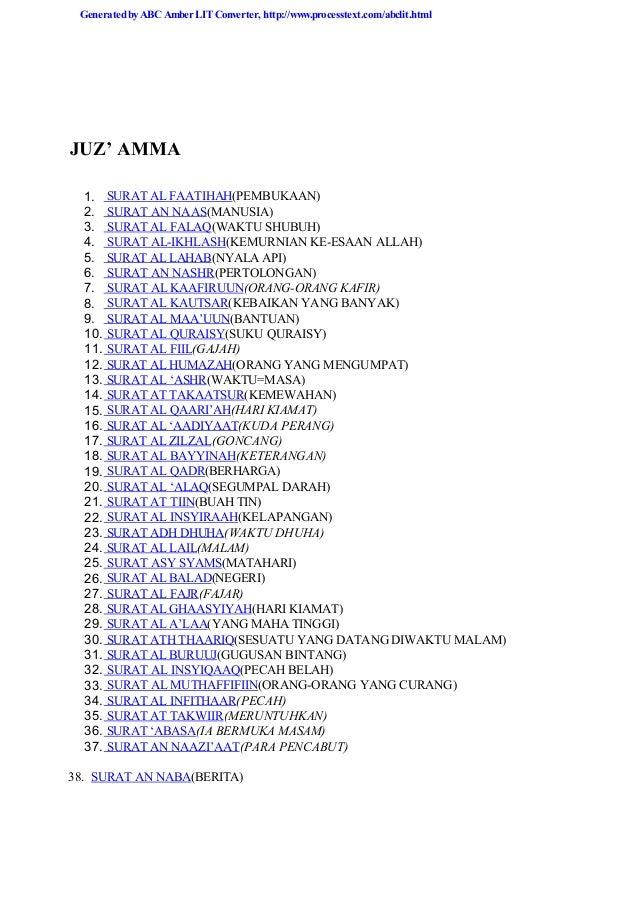 Tarjamahan Juz Amma