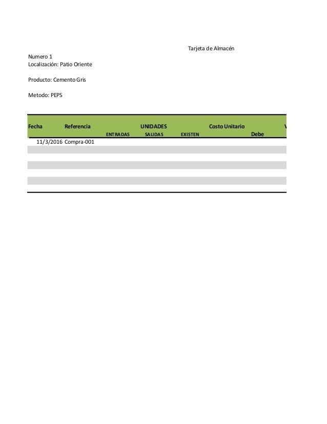 Numero 1 Localización: Patio Oriente Fecha Referencia UNIDADES Costo Unitario VALORES ENTRADAS SALIDAS EXISTEN Debe 11/3/2...