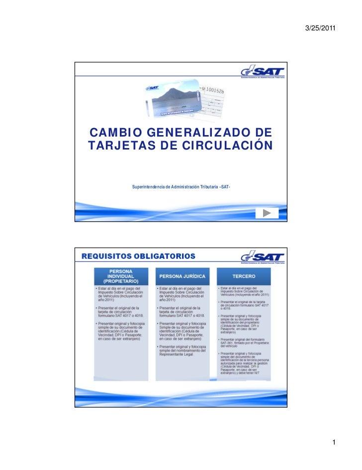 3/25/2011CAMBIO GENERALIZADO DETARJETAS DE CIRCULACIÓN     Superintendencia de Administración Tributaria –SAT-            ...