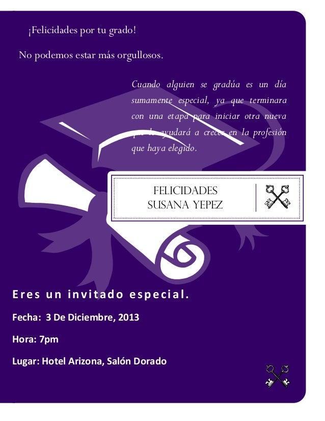 Tarjeta De Invitacion De Grado