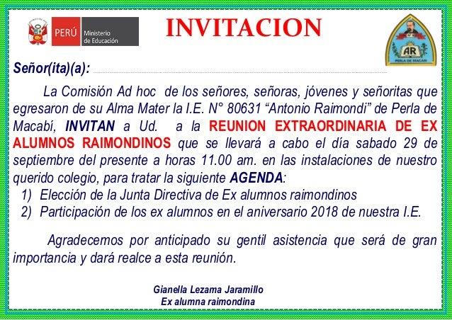 Tarjeta De Invitacion Ex Alumnos Perla 2018