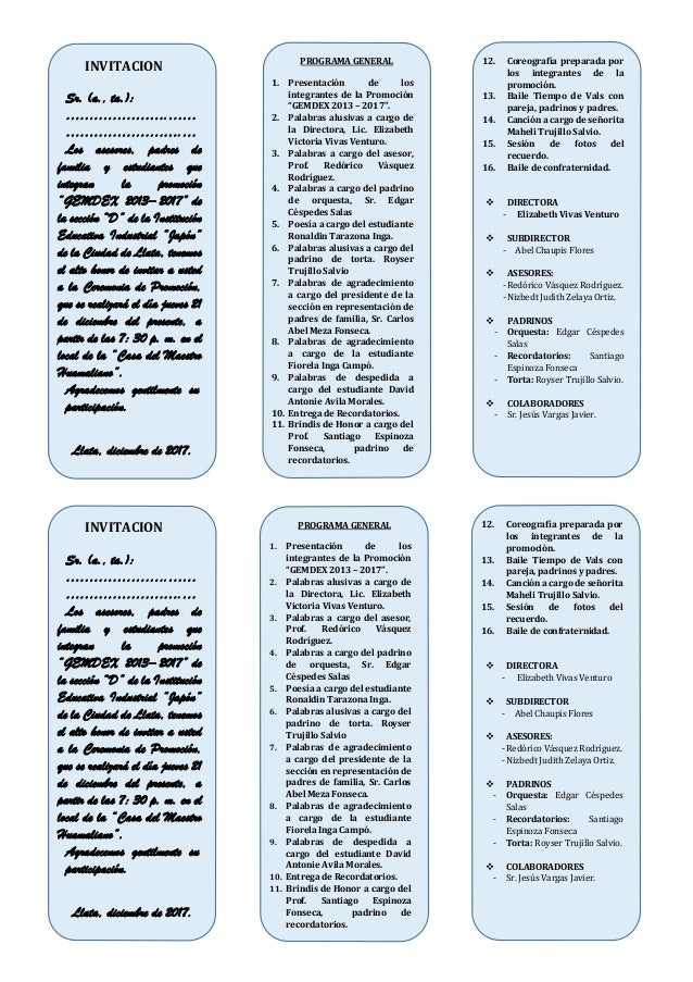 Tarjeta De Invitacion Promo 2017 Vertical Para Imprimir
