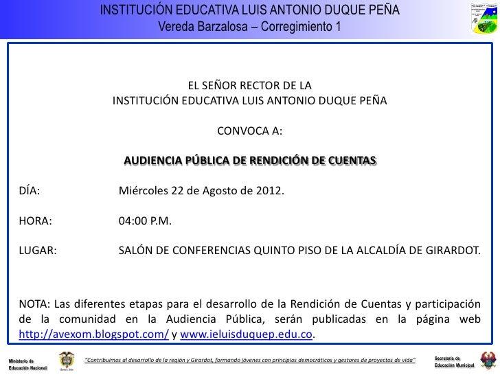 Tarjeta Invitacion Rendicion De Cuentas