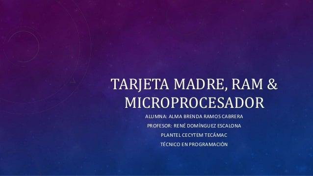 TARJETA MADRE, RAM & MICROPROCESADOR ALUMNA: ALMA BRENDA RAMOS CABRERA PROFESOR: RENÉ DOMÍNGUEZ ESCALONA PLANTEL CECYTEM T...