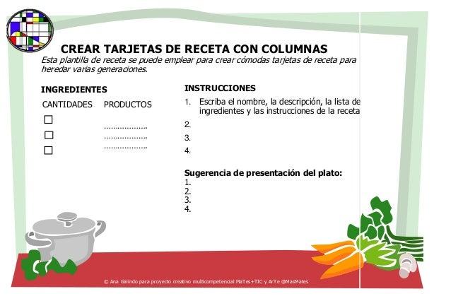 Tarjetas de recetas de cocina for Plantillas de cocina