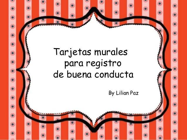 Tarjetas murales para registro de buena conducta By Lilian Paz