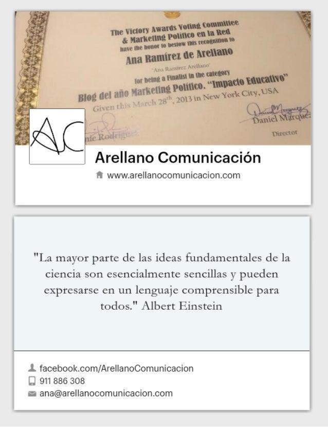 Tarjetas  de Arellano Comunicación en formato Fan Page de Facebook