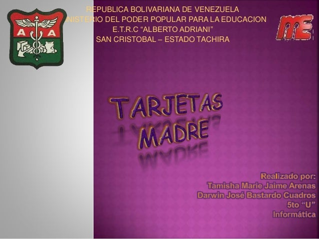 """REPUBLICA BOLIVARIANA DE VENEZUELA MINISTERIO DEL PODER POPULAR PARA LA EDUCACION E.T.R.C """"ALBERTO ADRIANI"""" SAN CRISTOBAL ..."""