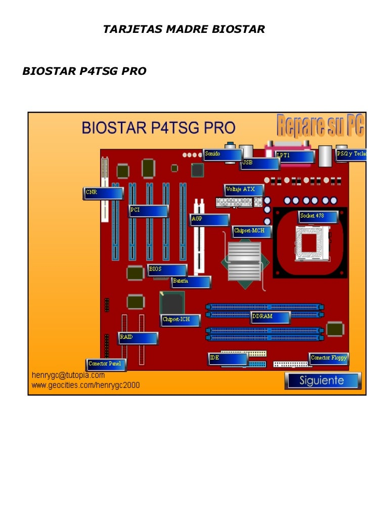 TARJETAS MADRE BIOSTAR<br />BIOSTAR P4TSG PRO<br />BIOSTAR M7VKF<br />BIOSTAR M6TSU<br />-32702564579500BIOSTAR M7TDR<br /...