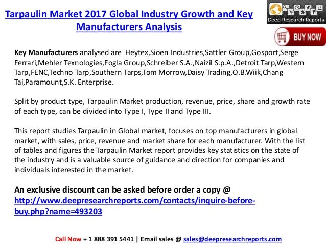Tarpaulin Industry: 2017 Global Market Growth Trends, Size and 2022 F…