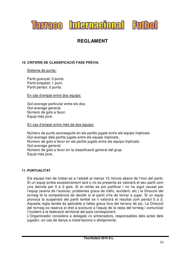 REGLAMENT    10. CRITERIS DE CLASSIFICACIÓ FASE PRÈVIA.    Sistema de punts:    Partit guanyat: 3 punts   Partit empatat: ...