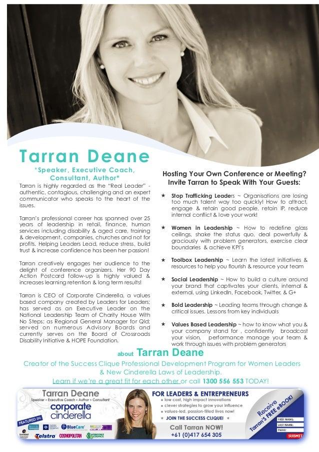 Tarran Deane, Corporate Cinderella 0417 654305 speaker one sheet 1 - photo#16