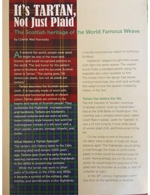 Tartan, Not Just Plaid by Colette Weil Parrinello feb 2018 Faces Magazine Cricket Media