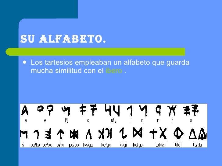 Su alfabeto. <ul><li>Los tartesios empleaban un alfabeto que guarda mucha similitud con el  ibero  . </li></ul>