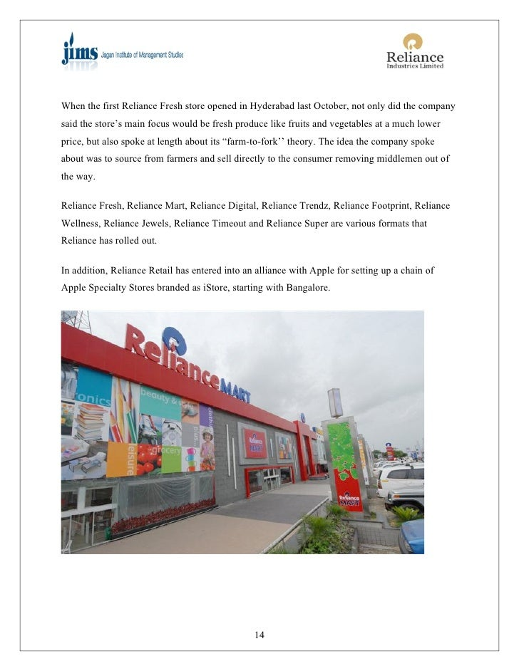 PROJECT REPORT ON RELIANCE FRESH RETAIL STORE OPERATION
