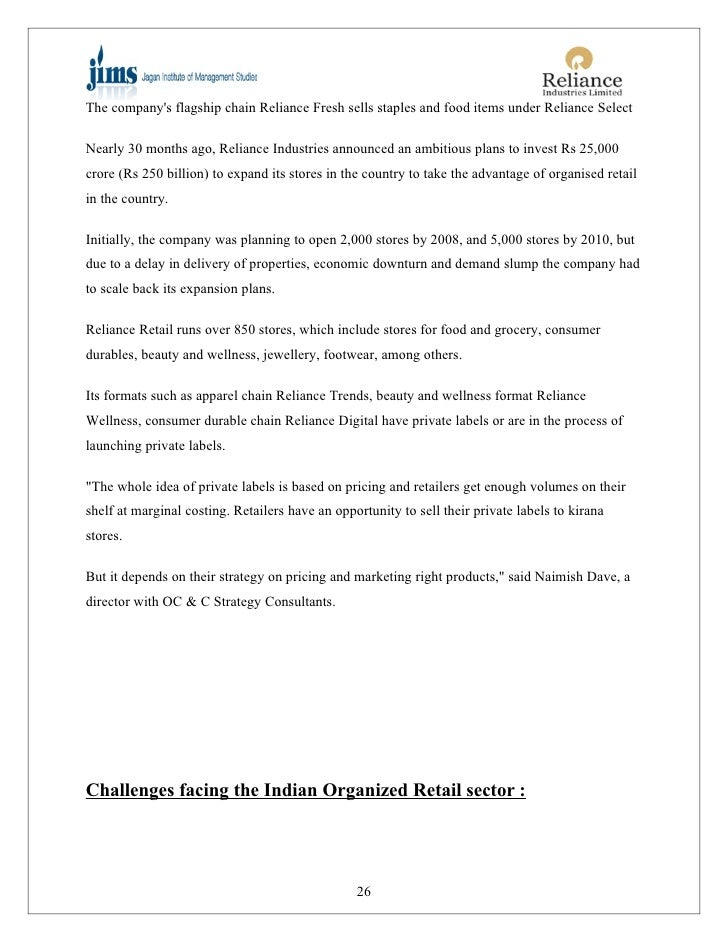 Project On Reliance Retail