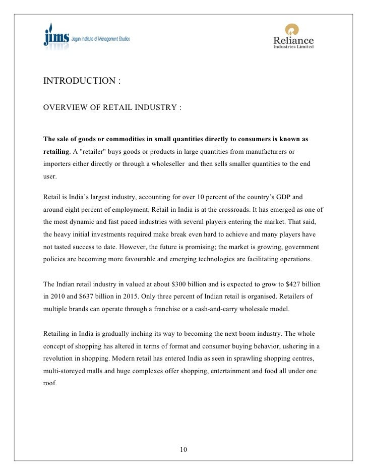 Project on reliance retail 9 8 introduction overview of retail industry fandeluxe Image collections