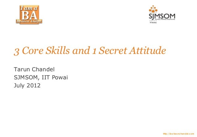 I am a  BABusiness Analyst3 Core Skills and 1 Secret AttitudeTarun ChandelSJMSOM, IIT PowaiJuly 2012                      ...
