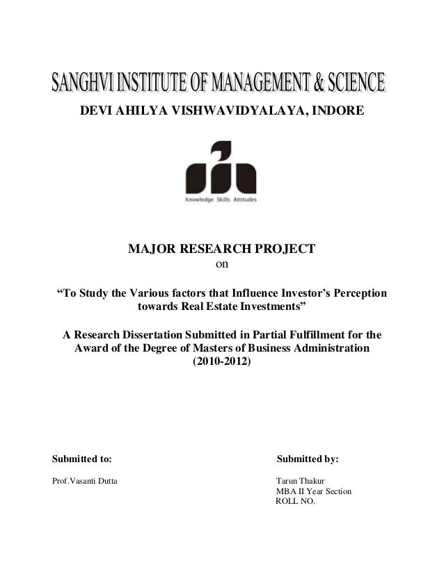 "DEVI AHILYA VISHWAVIDYALAYA, INDORE                     MAJOR RESEARCH PROJECT                               on ""To Study ..."
