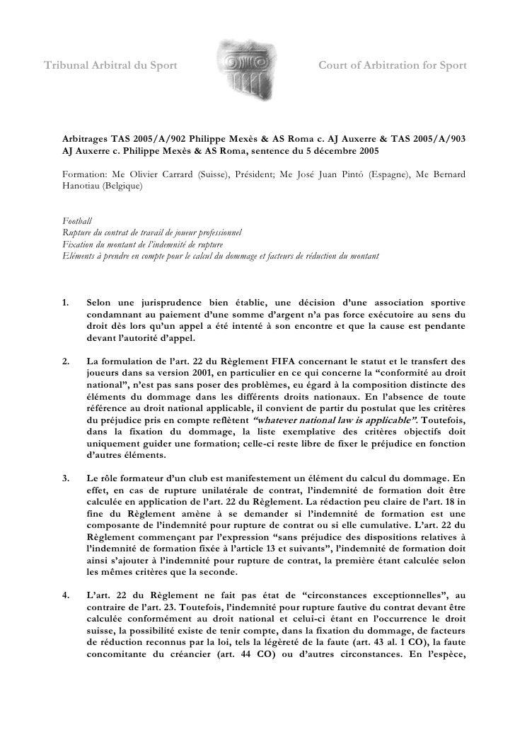 Tribunal Arbitral du Sport                                                 Court of Arbitration for Sport        Arbitrage...