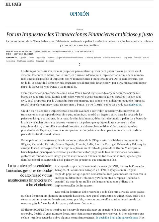 MANUEL DE LA ROCHA VÁZQUEZ / CARLES CAMPUZANO / NACHO ÁLVAREZ PERALTA / JOSÉ ANTONIO GARCÍA RUBIO 6 OCT 2015 - 00:00 CEST ...