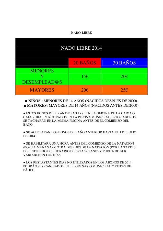 NADO LIBRE ■ NIÑOS : MENORES DE 14 AÑOS (NACIDOS DESPUÉS DE 2000). ■ MAYORES: MAYORES DE 14 AÑOS (NACIDOS ANTES DE 2000). ...