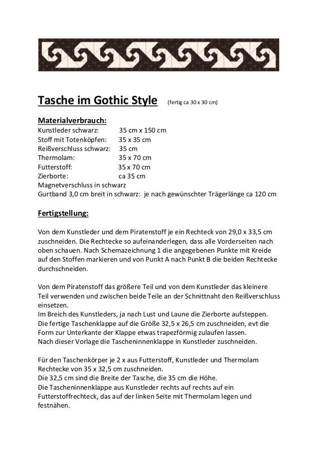 Tasche im Gothic Style (fertig ca 30 x 30 cm) Materialverbrauch: Kunstleder schwarz: 35 cm x 150 cm Stoff mit Totenköpfen:...
